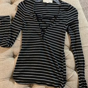 Black and White Striped Lace Up Top